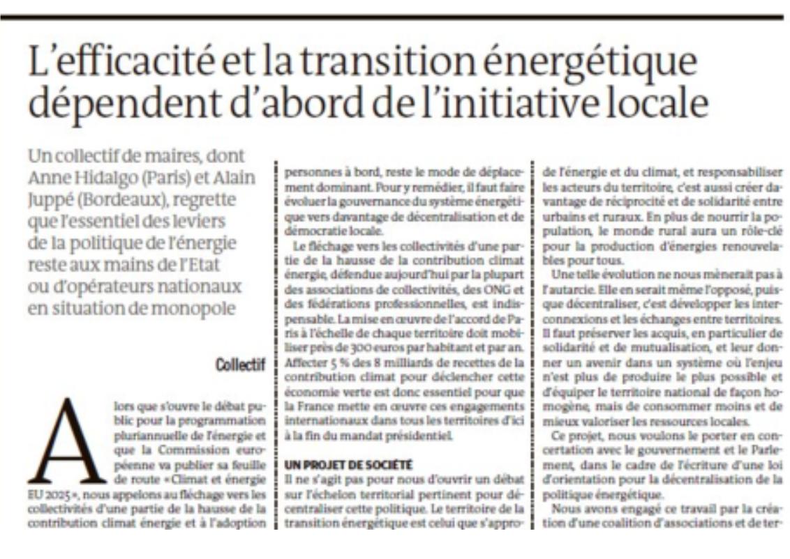 L'efficacité et la transition énergétique dépendent d'abord de l'initiative locale